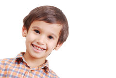 Very nice cute boy with smile on face, isolated. Is smiling royalty free stock photography