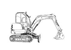 Excavator illustration art work drawing fun sketch. A very nice excavator illustration art work drawing fun sketch good for any design or project Royalty Free Stock Photos