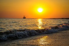 Beautiful sunset on the Mediterranean in spring royalty free stock photography
