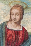 Mosaic of Virgin Mary. A very nice madonna made in glass and marble mosaic tiles. The style looks like the Madonna del Cardellino of Raffaello Sanzio, the famous Royalty Free Stock Photography