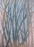 Very nice original Watercolor painting of forest on paper stock illustration