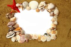 Sand frame with the shells Stock Photos