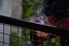 Sparks from digging the gates in my garden royalty free stock photography