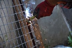Sparks from digging the gates in my garden stock images