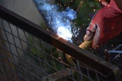 Sparks from digging the gates in my garden stock image