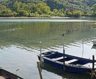 very nice view of boat along river magra Stock Image