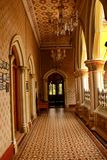 Very nice view of corridor with beautiful flooring in the palace of bangalore. Royalty Free Stock Image
