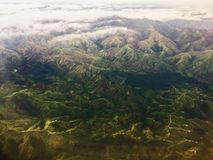 Very nice view from the window of the plane on the island of Fiji Royalty Free Stock Image