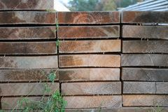 Very nicely arranged timber stock image