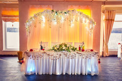 Very nicely decorated wedding table for groom and bride. Stock Photos