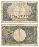Very old banknote. Very old romanian banknote of 1000 lei. The banknote dates from 1943 royalty free stock image