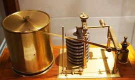 Very old barometer machine. As piece of history stock photo