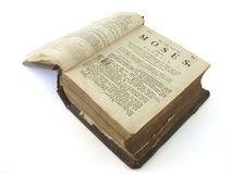 Very old bible. 250 year old bible first pages Genesis Royalty Free Stock Photography