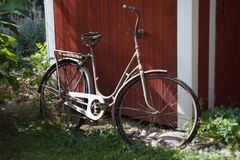 Very old bicycle in Summer royalty free stock images