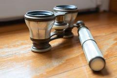 Ancient binoculars details stock photo