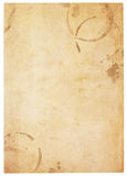 Very Old Blank Paper With Coffee Stains. Aging, worn paper with coffee stains and rough edges. Blank with room for text or images. Isolated on White. Includes royalty free stock images