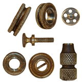 Very old bolts, steel nuts, heads Stock Image