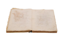 Very old book with Two Blank pages. For your copy. Isolated on white backgroud stock images