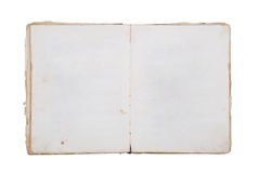 Very old book with Two Blank pages. For your copy. Isolated on white backgroud royalty free stock image