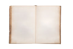 Very old book with Two Blank pages. For your copy. Isolated on white backgroud stock image