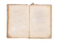 Very old book with Two Blank pages for your copy. Isolated on white backgroud stock image