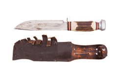 Very old bowie knife isolated Royalty Free Stock Photo