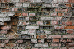Very old brick wall. Brick background, is destroyed Stock Image