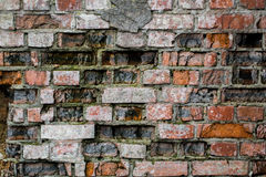 Very old brick wall. Brick background, is destroyed Stock Photo