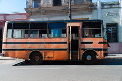 Very old bus parked stock image