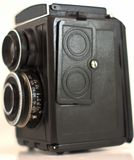 A very old camera that has been isolated with white background royalty free stock photos
