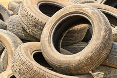 Very old car tires Royalty Free Stock Photos