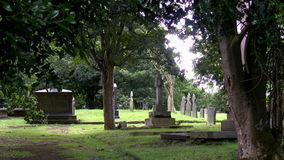 Very old christian cemetery stock footage