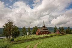 Very old church in Hegge - little town in Norway. Stock Photo