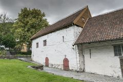 Very old white house in bergen norway Royalty Free Stock Photography