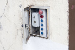 Very old control panel. Very old control panel with a switch in ON position Stock Photo
