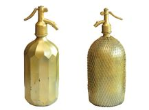 Very old copper bottles for sparkling water Royalty Free Stock Photos