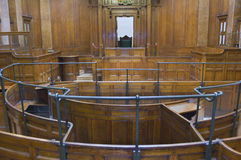 Very old courtroom 1854. Very old courtroom (1854) with Judges chair at St Georges Hall, Liverpool,UK Stock Photography