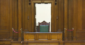 Very old courtroom (1854) with. Judges chair at St Georges Hall, Liverpool,UK Royalty Free Stock Photography