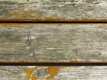 Very old cracked grey wood planks and peeled yellow colour. Shelled ochre paint / dye. Rustic / antique appearance. Background wood grain texture. Carpentry royalty free stock photo