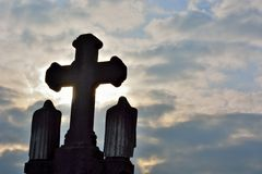 Very old cross on a graveyard Royalty Free Stock Images