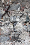Very old damaged wall with cracks. Good as textured background Stock Photography