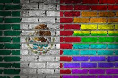 Brick wall texture - Flag of Mexico with rainbow flag. Very old dark red brick wall texture - Flag of Mexico with rainbow flag Royalty Free Stock Images
