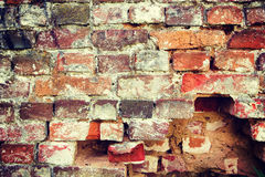 Very old destroyed brick wall instagram stile Royalty Free Stock Photos