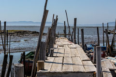Very Old Dilapidated Pier in Fisherman Village Stock Photos