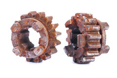 Very old dusted and rusted machine cogwheels isolated on white b Royalty Free Stock Photography