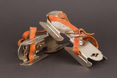Very old dutch ice skates for a small child Stock Photos