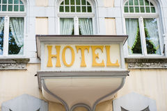 Very old fashioned hotel in Germany - balcony with hotel.  Stock Photos