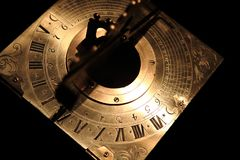 Very old golden sundial beneath Royalty Free Stock Photography