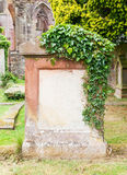 Very old gravestone with green leaves royalty free stock photography