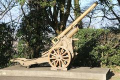 Very old gun of World War I in open-air museum in Italy Royalty Free Stock Photos